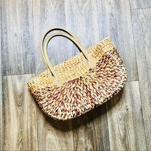 Vintage Retro Large Straw Woven Tote Bag